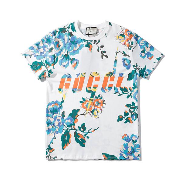 Erkekler Kadınlar O-Boyun Renkler Çiçek Yaz Sonbahar tişört Üst Kalite B103634V İçin Moda Yeni Womens Kısa Kollu T Shirt Gömlek