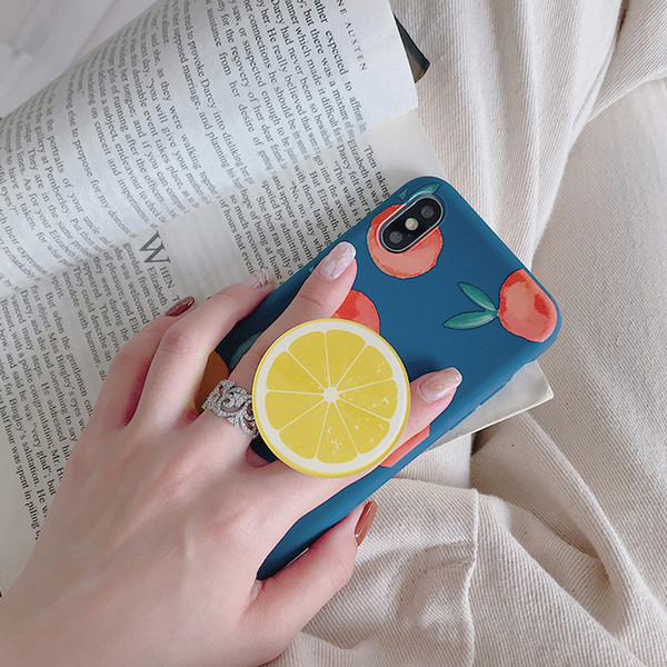 For iPhone XS MAX XR X 8 7 6S Plus Soft TPU Summer cute fruit Phone Case with Airbag Bracket holder free shipping with opp package