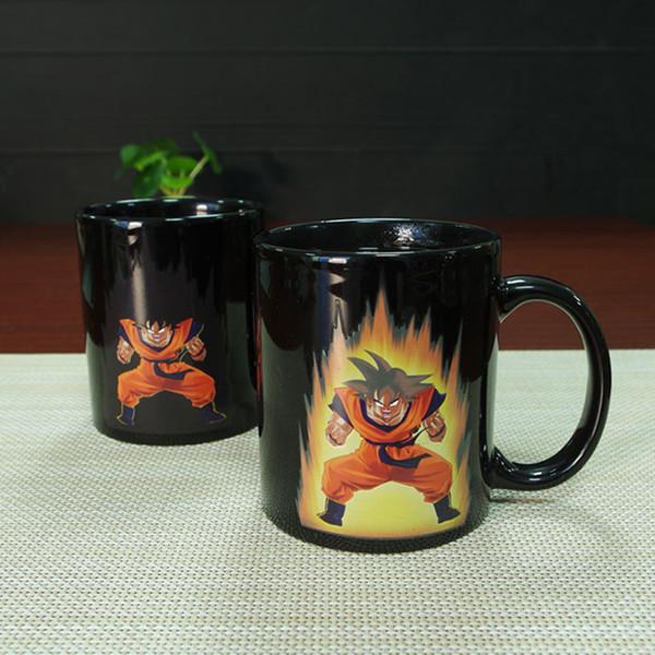 Ventas calientes Dragon Ball Cambio de color Taza de cerámica Goku Novedad de dibujos animados Taza de café reactiva al calor Color cambiante Tazas mágicas