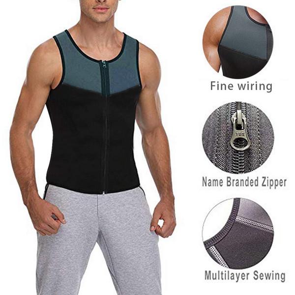 Herren Sport Shirt Slimming Zipper Neopren Sweat Shirt Gym Fitness Trainning Sportswear Herren Compression Slim Vest Laufweste
