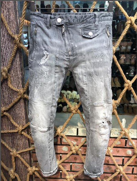 2018 European and American boutique fashion frosted holes embellished printed men's jeans size 44-54, free shipping - welcome to buy -a3