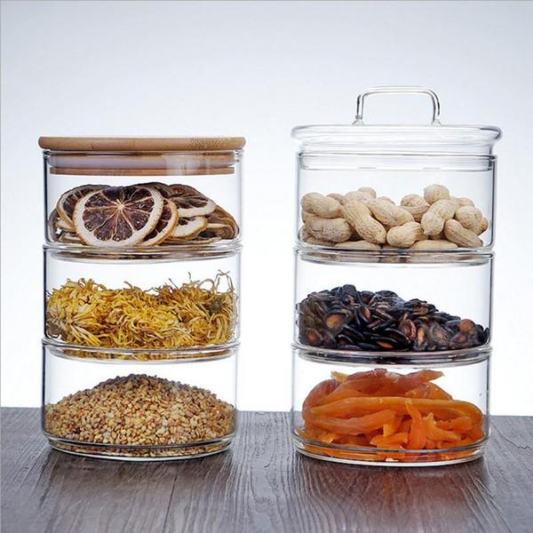 top popular Three Floors Glass Storage Jar Bottle with Cover Minimalist Storage Bottle Nut Seasoning Container for Kitchen Organizer Home 2021
