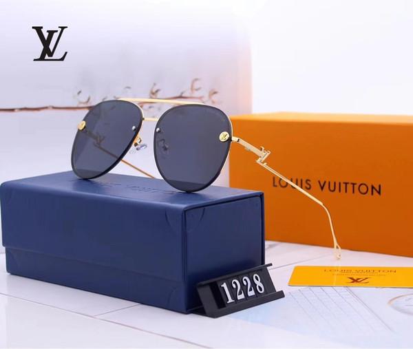 1228 2019 nuevo Luxur Gafas de sol de piloto clásicas de alta calidad Diseñador de la marca de moda Hombres Mujeres Gafas de sol Gafas Lentes de vidrio de metal con caja