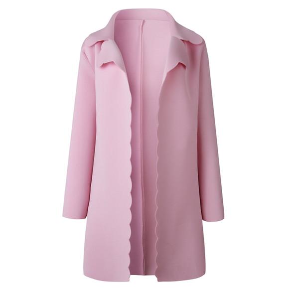 Женская мода Сладкий волнистый край дизайн отворот длинный кардиган куртка дамы элегантный розовый с длинным рукавом плащи и пиджаки