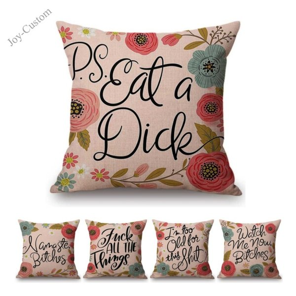 Pink Color Letter Print Sofa Throw Pillow Cotton Linen English Calligraphy Four Letter Word Complain Flower Wreath Cushion Cover
