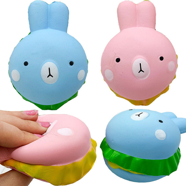 Hamburguesa de conejo blandita Hamburguesa de simulación de conejo perfumada de PU suave Juguete de descompresión de juguete para niños para correas de teléfono celular DHL Gratis