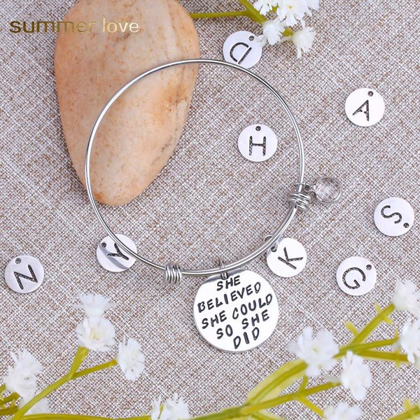 High Quality Stainless Steel Inspirational 26 Intial Letter Birthday Pendant Charm Bracelet for Women Men 60mm Expandable Wire Bangle