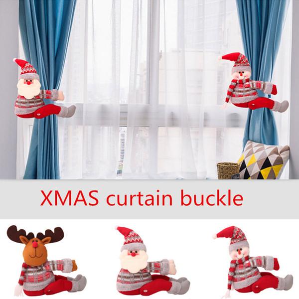 Decorações de natal Cortina Fivela Titular Clipe Tieback Display Window Living Room Decorações Xmas Presentes 3 Estilos HH7-1933