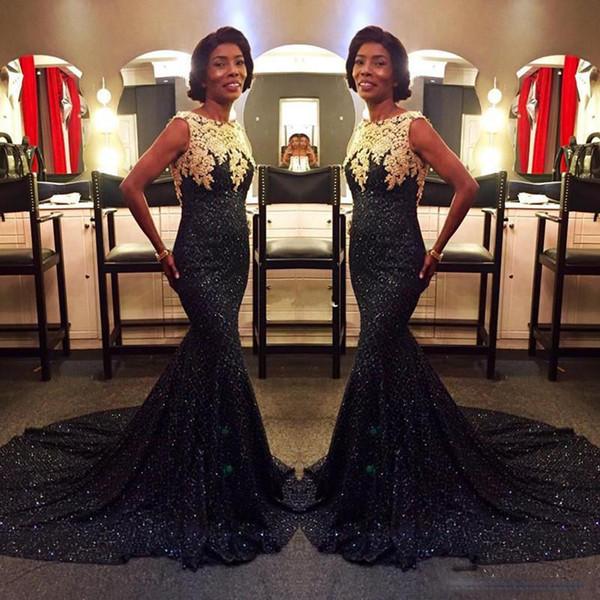 Sparkly Preto Lantejoula Vestidos de Noite Com Ouro Lace Sereia Vestido De Baile Custom Made Sweep Train Longo Ocasião Especial Vestido