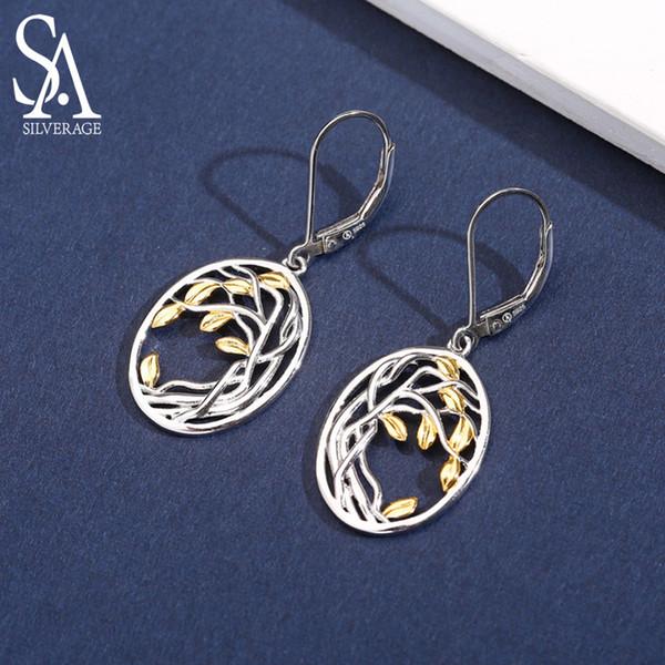 SA SILVERAGE 925 Aretes de plata esterlina del árbol de la vida para mujer 925 Pendientes largos de plata para mujer Color oro amarillo Brincos