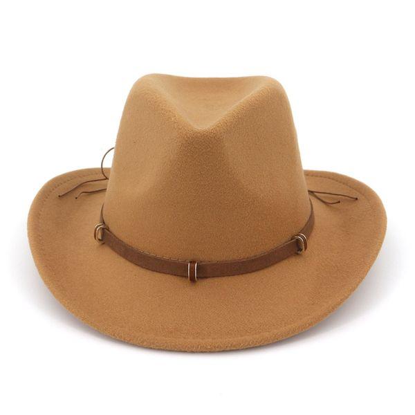 2019 fashion Women Man Wool Felt Western Cowboy Hats Wide Brim Jazz Fedora Trilby Cap Panama Style Carnival Hat Floppy Cloche Cap
