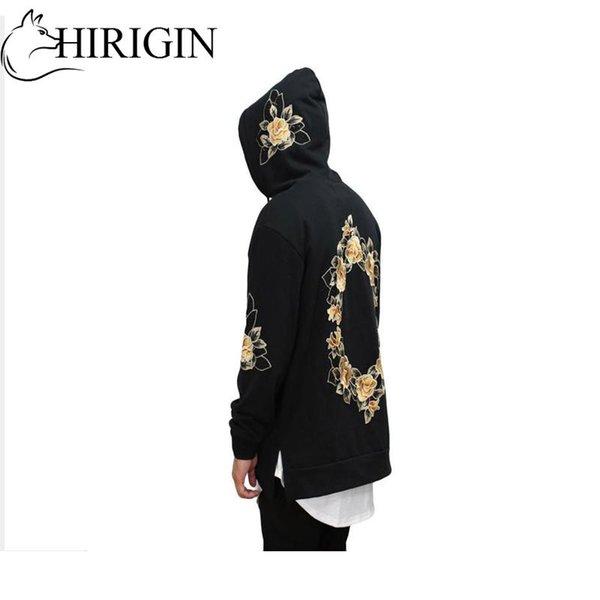Yeni Stil Sonbahar 2017 Moda Erkekler Nakış Baskı Hoodie Kazak Kapşonlu Ceket Coat Dış Giyim Pullover Tops
