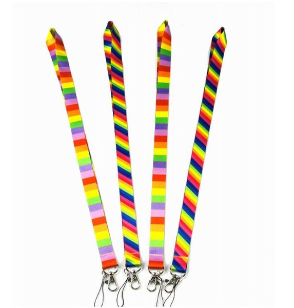 Rainbow Phone Lanyard Neck Hanging Mobile Phone Strap Multi-Use Cell Phone Exhibition Meeting Sports Outdoor Rope