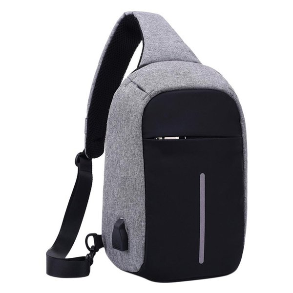 USB Design Chest Bag Men & Women Sling Bag Large Capacity Backpack Casual Crossbody Satchel ZK50