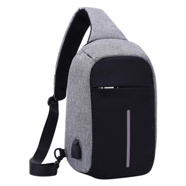 USB Design Chest Bag Men & Women Sling Bag Large Capacity Backpack Casual Crossbody Satchel ZK50