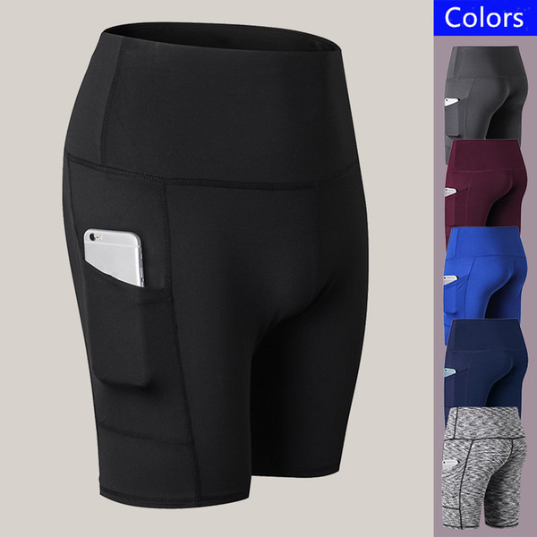 d08a7df4611 2019 Womens Yoga Shorts Compression Gym Sports Short Pants Side Pockets  Fast Dry Elastic Tight High Waist Shorts Fitness Running Riding Leggings  From ...