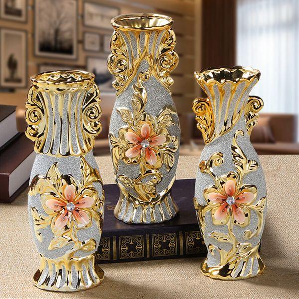 Fashion Ceramic Gold Vase Home Living Room Decoration Accessories Luxury Decoration Wedding Gifts Creative Ceramic Vase Crafts