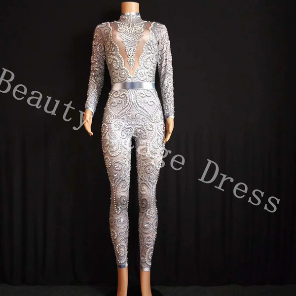 2019 Silver Crystals Jumpsuit long Sleeves Birthday Celebrate outfit Stretch Sexy Bodysuit Stage Performance Dance Rompers Jumpsuit
