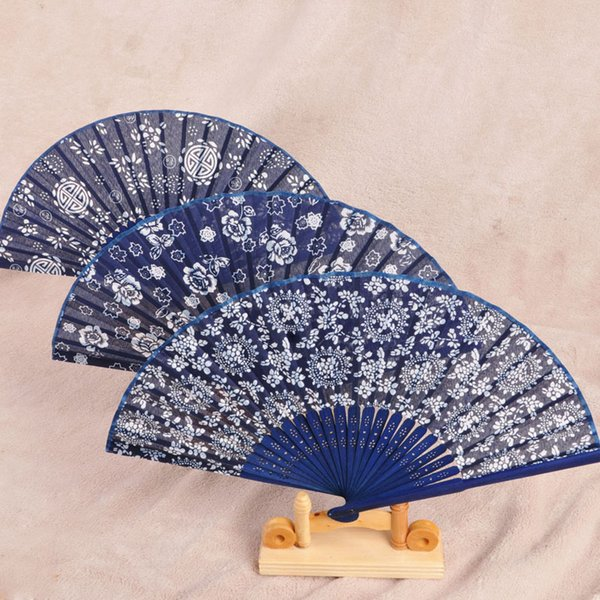 Flower Printing Chinese Silk Folding Hand Fan Wedding Gift Party Favor