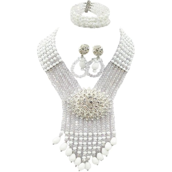 White Transparent Clear AB African Beads Jewelry Set Crystal Statement Necklace Nigerian Wedding Accessories 6SDLS03