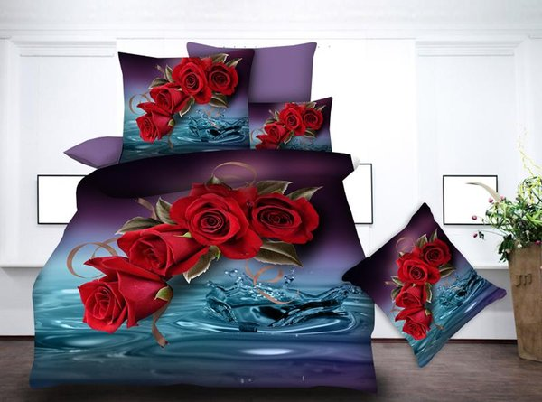 BEST.WENSD Jacquard bedding set luxury 3d Rose,lover ring rose wedding duvet cover bedsheet pillowcase bedding set juego de cama