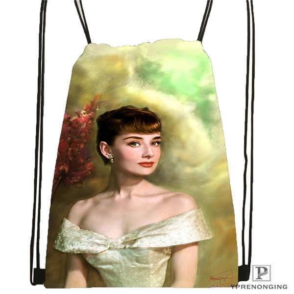 Özel Audrey-Hepburn-İlham Verici-İpli Sırt Çantası Sevimli Sırt Çantası Çocuk Çantası (Siyah Sırt) 31x40cm # 20180611-02-69