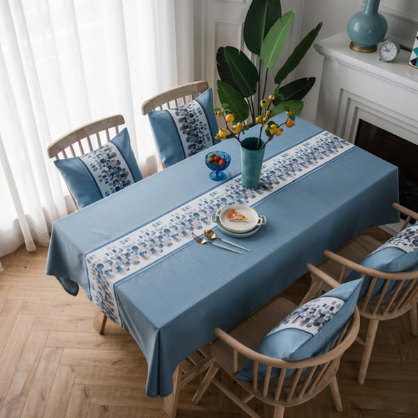 Nouveau Coton Sytlish Et Lin Table Cloth Country Style Rectangle Étanche Table Cover Nappe Maison Cuisine Décoration