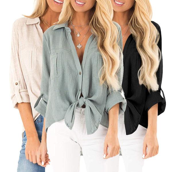 Acquista Camicia In Cotone Autunnale Donna, Manica Lunga, Cravatta A V, Tempo Libero A $15.28 Dal One_meter_sunshine1 | DHgate.Com