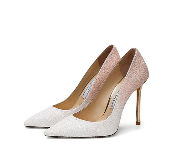 Water drill shoes female 2018 new Korean version of pointy sexy thin with platinum gradient fashion dress shallow fashion wedding heels
