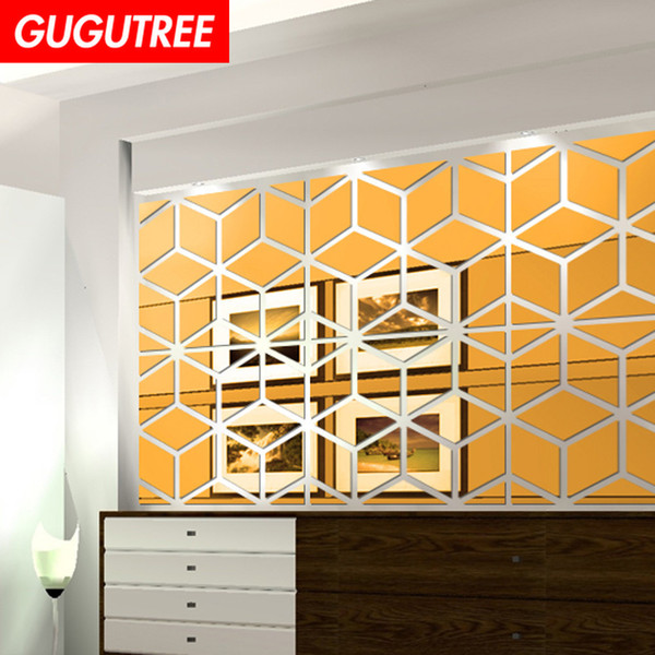 Decorate Home 3D geometry cartoon mirror art wall sticker decoration Decals mural painting Removable Decor Wallpaper G-308