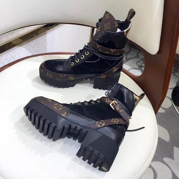 2019M dames sauvages de mode bottes courtes dames imprimées rayures antidérapantes dames occasionnelles chaussures courtes épais Martin bottes emballage d'origine