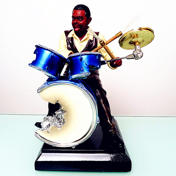 top popular Jazz Drummer Figurine Statue Famous Musicians Figure Resin Drum Figurine Crafts Musician Souvenir 2021