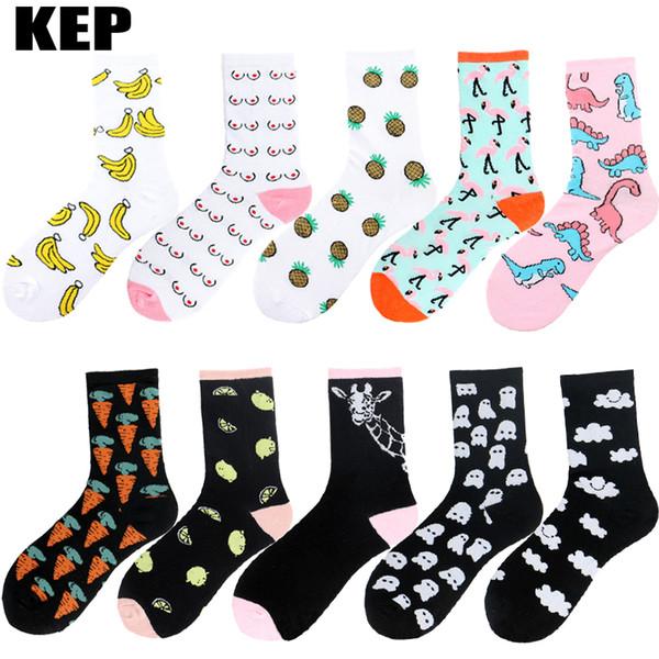 KEP Brand Korean Harajuku Novelty Flamingo Pineapple Dinosaur Fruit Animals Cotton Women Socks Funny Happy Socks Christmas Gift