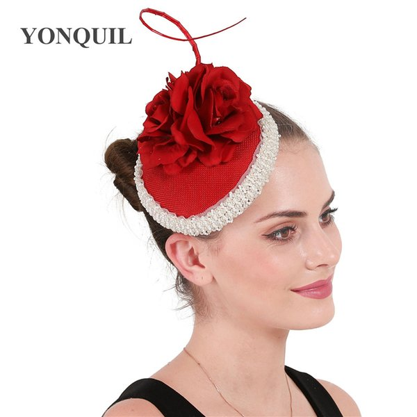 Classic elegant ladies red fascinator occasion millinery hats with peals headwear hats women occasion church event rose flower headpiece
