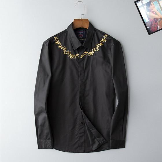 Высокая Мода Марка Дизайнер Мужские Рубашки Повседневная Золотой Цветочный Черный Белый Весна Осень Бизнес-Офис Рубашка С Длинным Рукавом Блузка B100226V