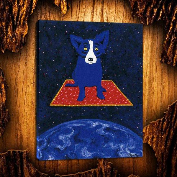 Terre de chien bleu, couverture magique, 1 pièces impressions sur toile peinture à l'huile de mur art à la maison décoration (sans cadre / encadré) 18X24.
