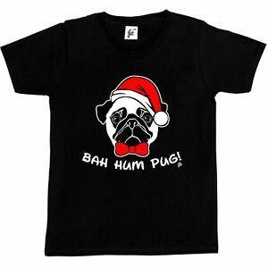 T-shirt dos meninos das crianças do Natal de Harajuku do Pug do zumbido de Bah