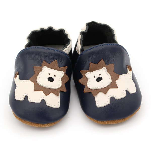 Newborn Baby Boy Girl Soft Sole Crib Shoes Infants Kids Cute Lion Leather Shoes First Walkers Toddlers prewalker Dark Blue