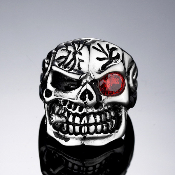 316LTitanium Steel stainless steel Huge Heavy Red/White CZ Eyes Ti Skull Ring Mens Boys Biker Rock Punk Style Rings Size 7-13#