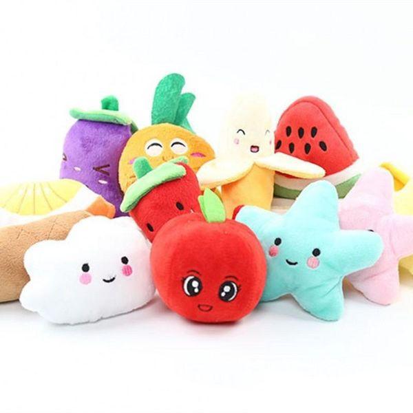Ses Muz Karpuz Turp meyve Peluş Oyuncak sebze Klasik Sevimli Köpek Interaktif Hediye Yumuşak Pet Diş Çıkarma Molar çocuk oyuncakları