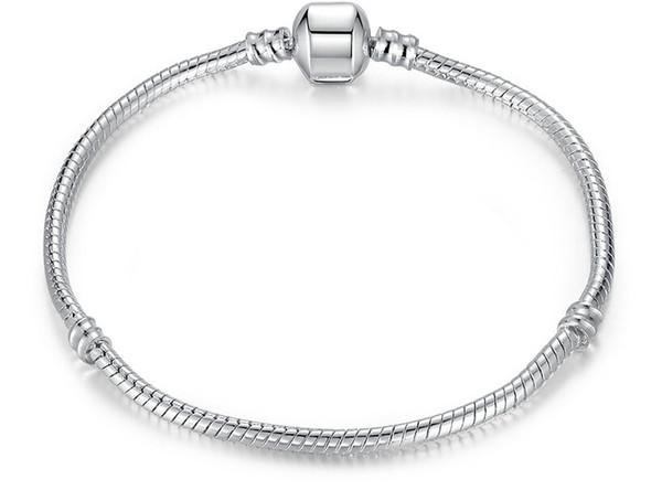 Silver Plated Bracelet Fit Women Men for Pandora Beads Snake Chain Basic Bracelets Bangles Charm Bead DIY Jewelry Hot Sale Best Friend Gift
