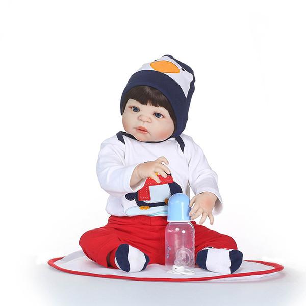 55CM Lifelike Silicone Reborn Baby Menina Alive 23'' Newborn Baby Dolls Full Vinyl body Kids Playmates Toys on Birthday