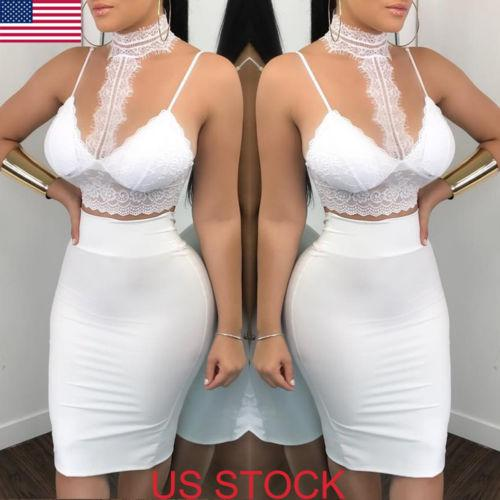 New Sexy White Lace Clothes Set Women 2 Piece Bodycon Lace Crop Top+Skirt Party Clubwear Summer Lady Evening Clothes