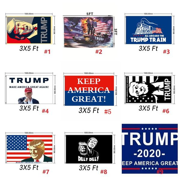 best selling 90*150cm Donald John Trump Amercia Flags Polyester Head Metal Grommet Personality Decortive Trump Banner Flag MMA1651 60pcs-1