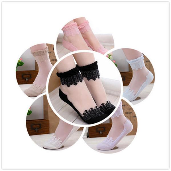 Women Crystal Short Sock Sexy Lace Socks Breathable Stocking Summer Thin Sock Fashion Thin Socks LLA47