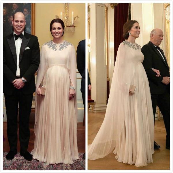 Vestido Para Madrinha Kate Middleton 2019 árabe Sexy Vestidos De Noite Frisada Cristais Chiffon Vestidos De Baile Champagne Festa Formal Da Dama De