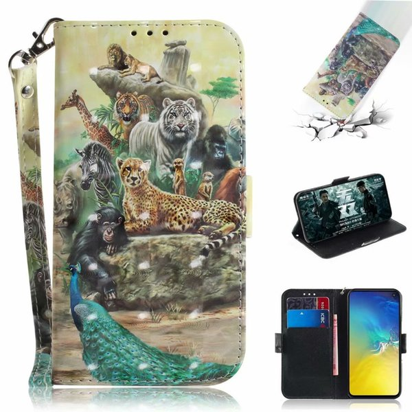 3D Leather Wallet Case For Galaxy Note 9 S10 S10e S9 LG G7 Huawei P30 Pro Tiger Animal Cat Dog Panda Tiger Leopard Flower Card ID Flip Cover