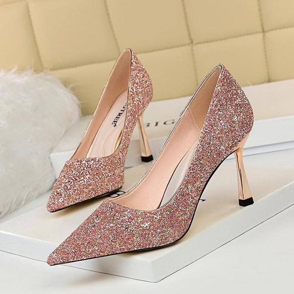 8cm Talons Chaussures Femme Glitter bling bout pointu Pompes peu profond glissement de mariage pompe de mode sur Diapositives Zapatos Mujer Or Argent