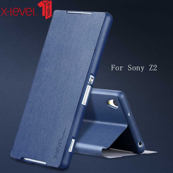 Flip PU Leather Case For Sony Xperia Z2 Stand Phone Back Cover Coque For Sony Xperia Z2 Cases Business Plain Phone Case