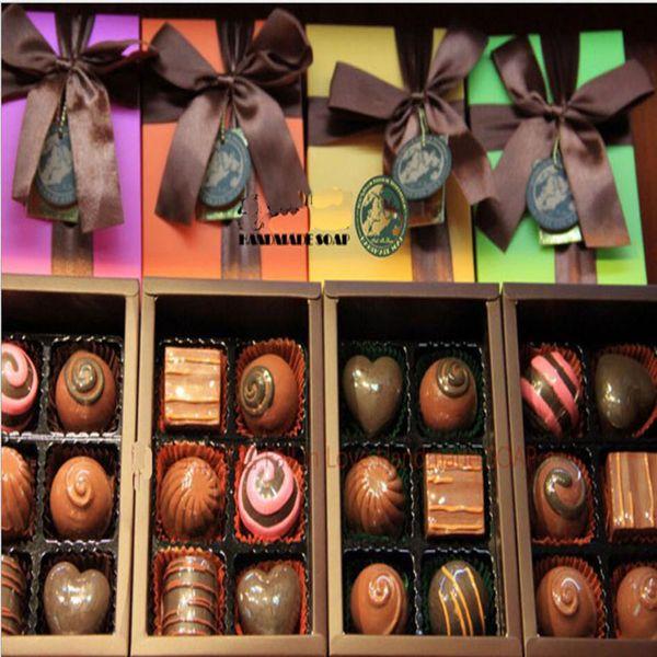 Eco-Friendly 100% Handmade Chocolate Style Oil Soap Decorative Christmas Gift Box 6 pieces/lot Savon Coffret Idee Cadeaux